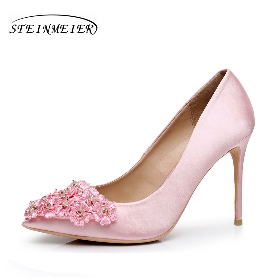 women high heels natrual silk elegant wedding shoes quality flower 10cm thin heel lady point toe party woman pumps shoes lady s pumps high thin heel spike heels mixed colors metal buckle elegant concise women wedding shoes 2015 high heels