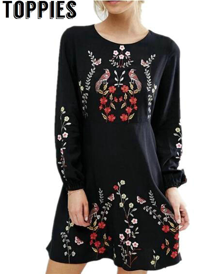 b8ccdf6007 2017 Spring Women Long Sleeves Black Floral Embroidered Dress O-neck Causal Flower  Embroidery Dresses Boho Ethnic Dress Bordado