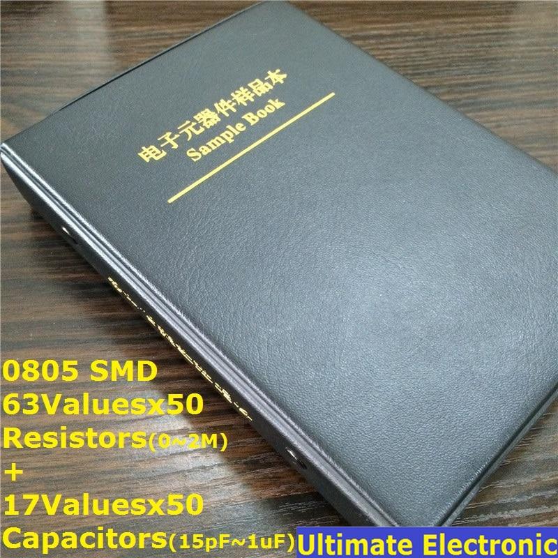 0805 smd конденсатор комплект 850 шт + 0805 smd резистор набор 3150 шт практичный образец книга 17 значений + 63 значения = 80 значений