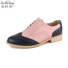 British style high quality carved Genuine leather flat heels Color matching lace-up Big yards oxford shoes for women 8 color(China)