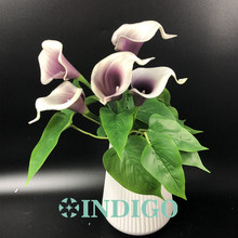 INDIGO- Calla Bouquet (18pcs Leaves+5pcs Flowers +Roots) Real Touch Flower (6 Colors) Calla Wedding Table Flower Free Shipping