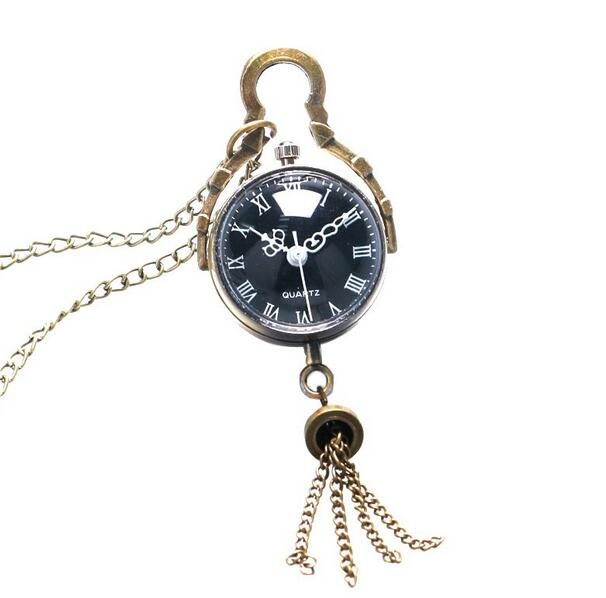 Antique Vintage Glass Black Ball Bull Eye Necklace Quartz Pocket Watch Gift P366