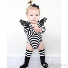 2016 New Toddler Baby Girls Stripes Fly Sleeve Rompers Fall Winter Cute Baby Clothing Wholesale