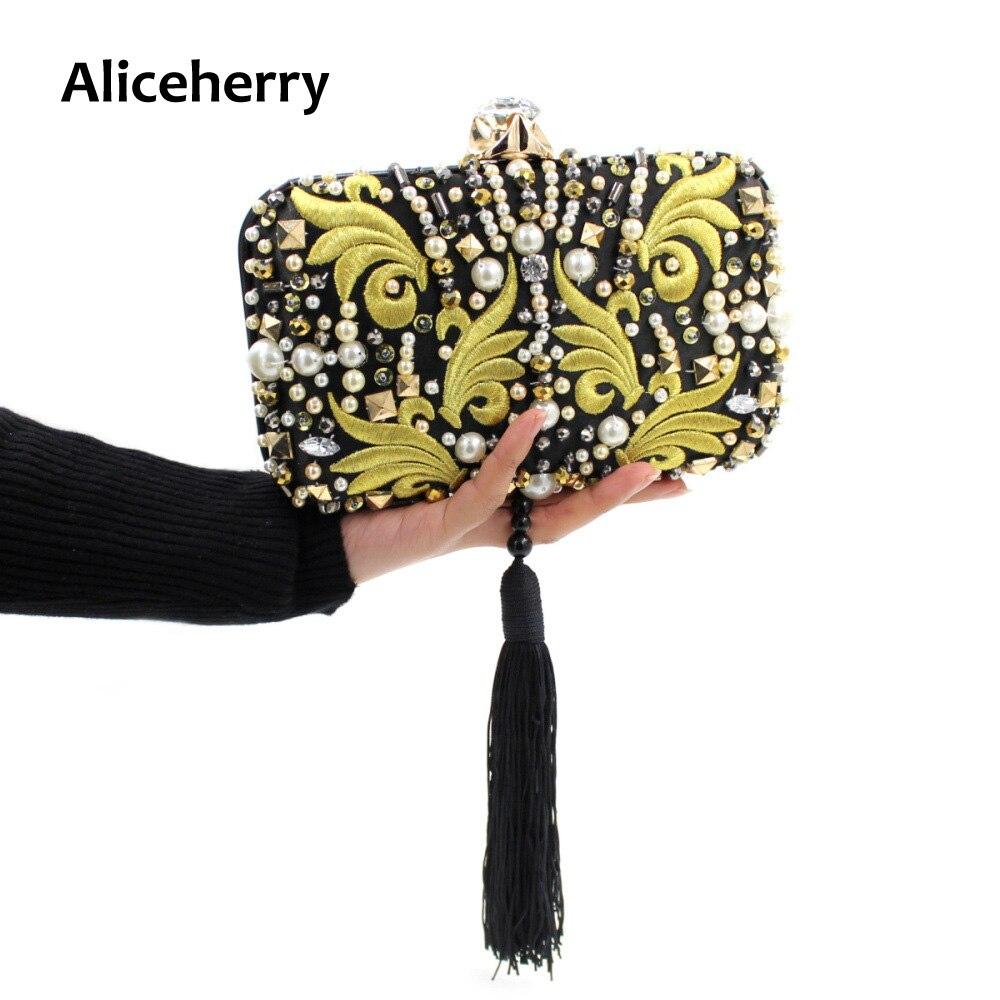 ФОТО Luxury women clutch bag ladies diamond embroidery evening bag tassels wedding bridal girls chain handbags purse party phone bags