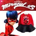 2017 nueva primavera ropa niñas de dibujos animados traje de mariquita milagrosa reddy hero t-shirt y falda 2 unidades set ropa de los niños del cabrito