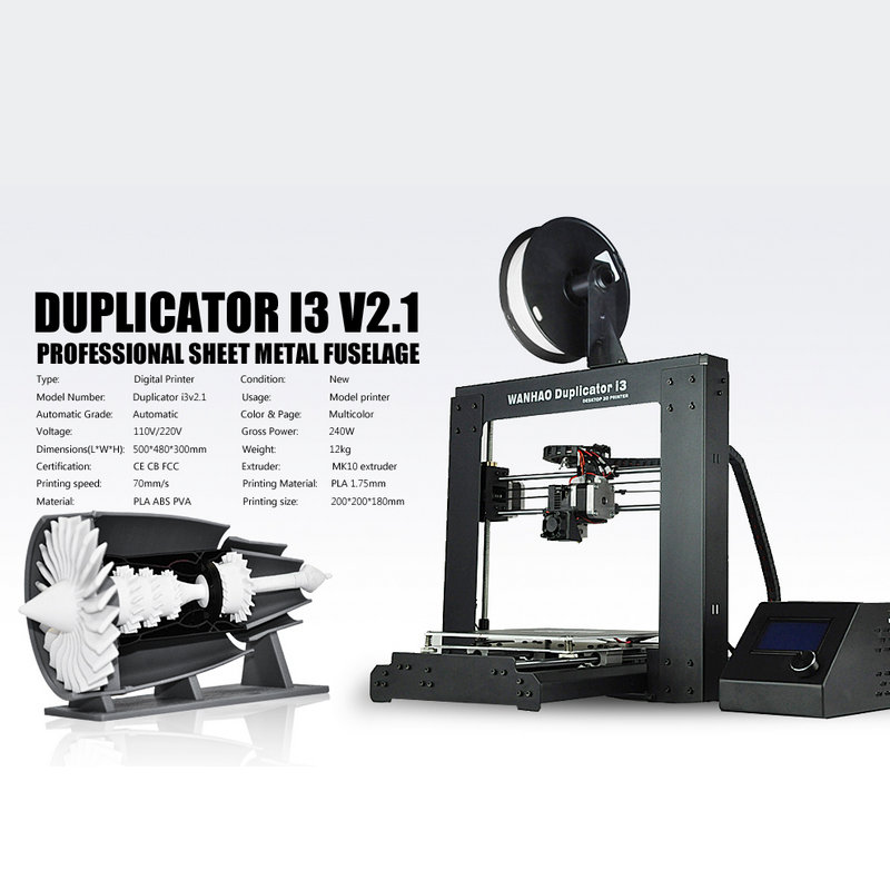 Popular  Reprap Prusa 3D Printer High Speed Extruder WANHAO I3 V2.1 Printer Free shipping wanhao steel frame desktop digital 3d printer duplicator i3 v2 1