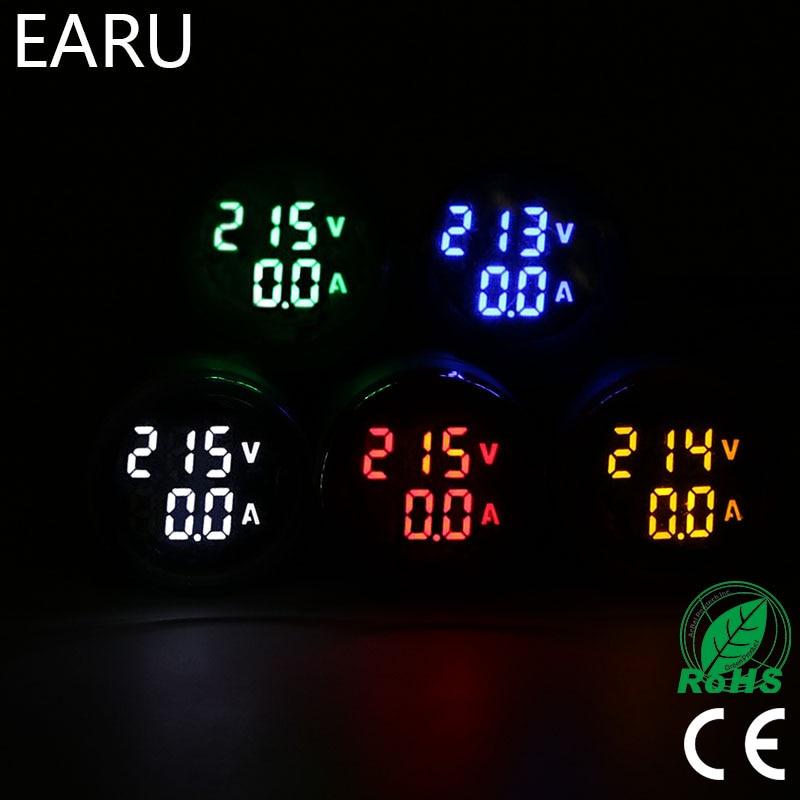 Round Mini Digital Voltmeter Ammeter 22mm AC 20-500V 0-100A Amp Volt Voltage Tester Meter Dual LED Indicator Pilot Lamp Light