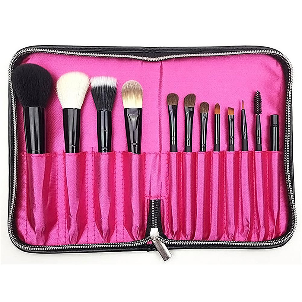 1pcs Makeup Brush Bag Women Cosmetic Black PU Leather Makeup Brushes Case Storage With Zipper 12 Pockets Organizer Brushes Bag