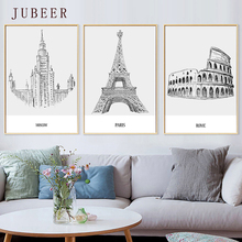 Modern Minimalistic Black and White Poster Paris London Pencil Painting Architectural Decorative for Living Room