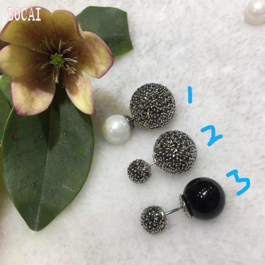 Boucles d'oreilles en argent sterling 925 à la mode, boucles d'oreilles avec perles naturelles en pierre noire naturelle