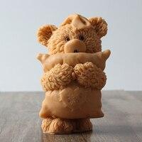 3D 작은 곰 베개 실리콘 비누 촛불 금형 DIY 수제 공예 수지 클레이 장식 도구