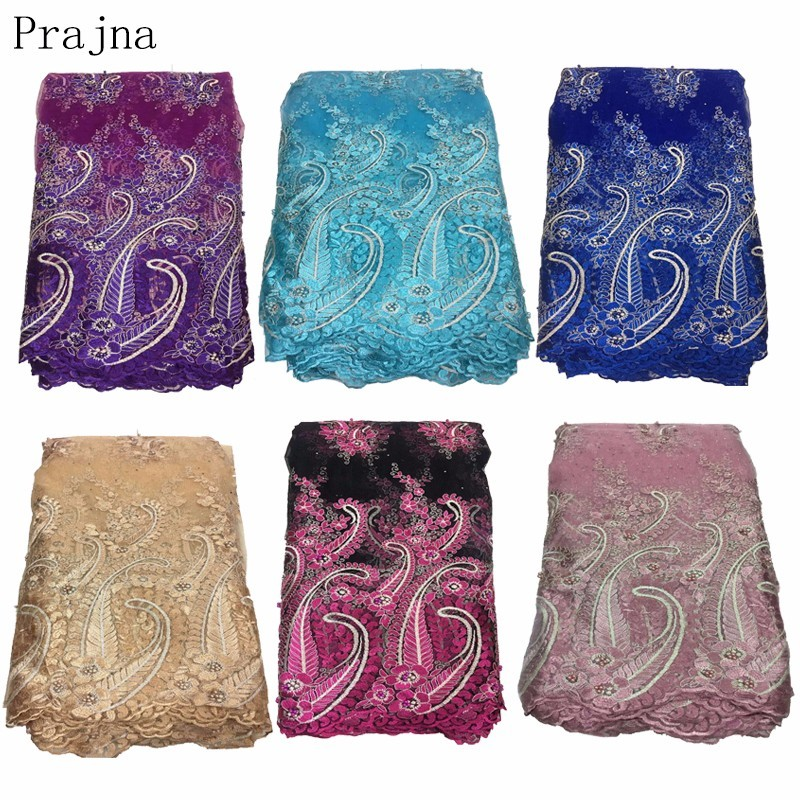 Prajna 2018 High Quality Lace Latest 3D Jacquar Fabric African Laces With Beaded Wedding Red Nigerian French Fabric F