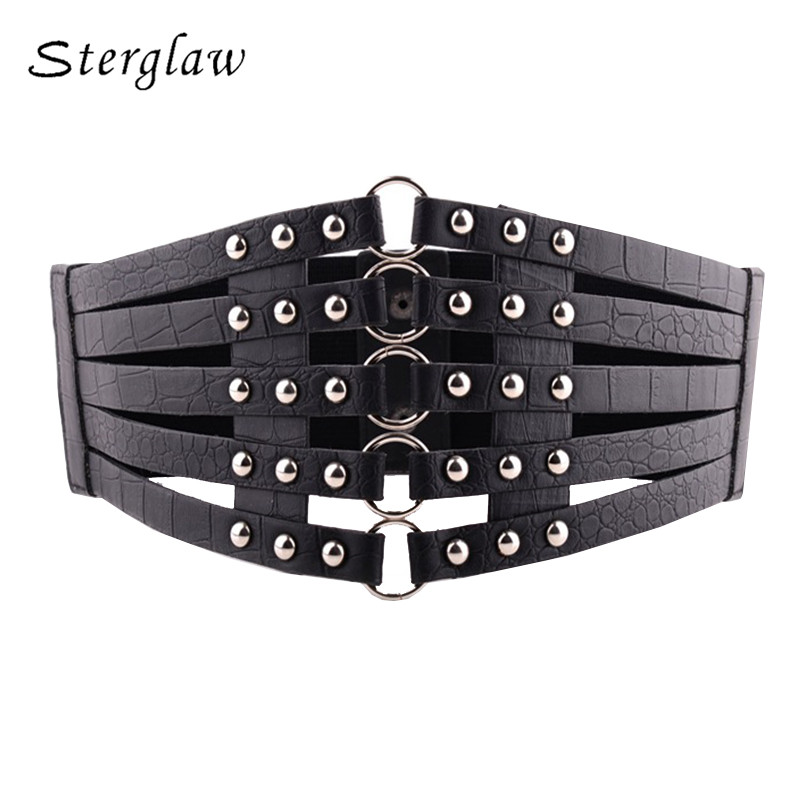 Top Female Vintage Black Rivet Corset Belt For Women Clothes Elastic Waistband Hot Shape-Making Feminine Belt Cummerbunds A001