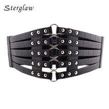 Top female Vintage Black rivet corset belt for women clothes