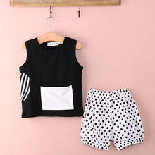 Baby Girls Infant Boy Clothes Black Tops T-shirt Blouse and Pants 2PCS Outfit Suits