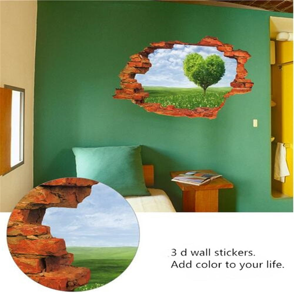 online get cheap wall murals tree aliexpress com alibaba group blue sky and white clouds love tree wall effect individuality creative 3 d broken wall mural