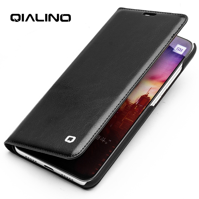 QIALINO Genuine Leather Ultrathin Flip Case for Xiaomi Mi 8 Vintage Handmade Full Protection Phone Cover for Xiaomi 8 6.21 inch