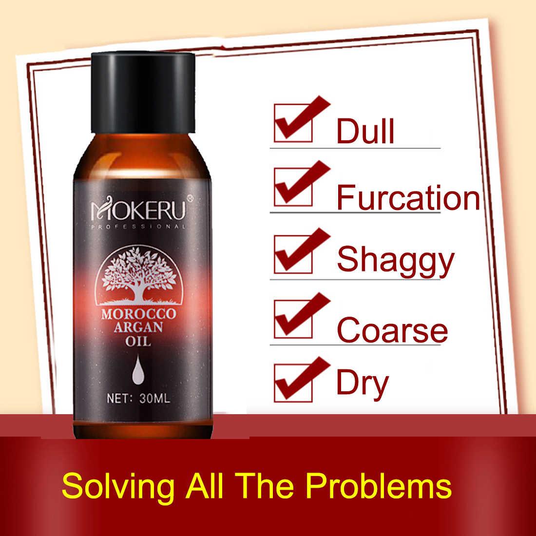 Mokeru 1 pc 30 ミリリットル天然有機髪血清平滑化のための乾燥した髪モロッコアルガンオイル治療エッセンシャルオイル成長ケア