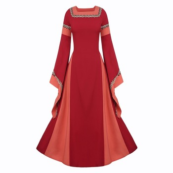 Women Vintage Square Collar Long Sleeve Flare Sleeves Long Dress Medieval