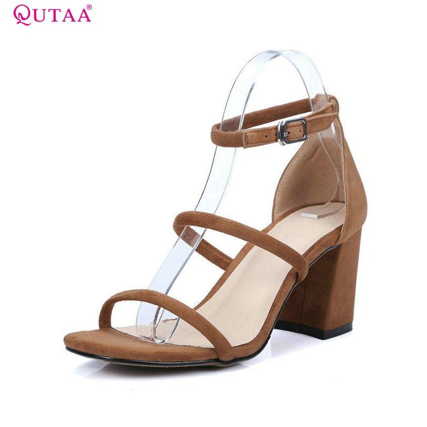 QUTAA 2018 Women Sandal Square High Heel Summer Platform Ankle Strap Women Shoes Genuine Leather Ladies Wedding Shoes Size 34-39
