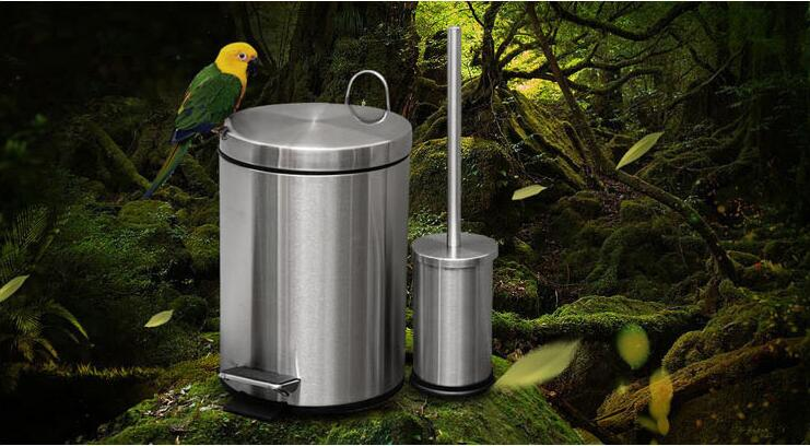 304 Stainless Steel Circular Trash Can 8 Litre with Toilet Brush Toilet Brush Holder Set Trash Can Bathroom Toilet Brush Set жаровня d 26 см с крышкой традиция гранит тг9263