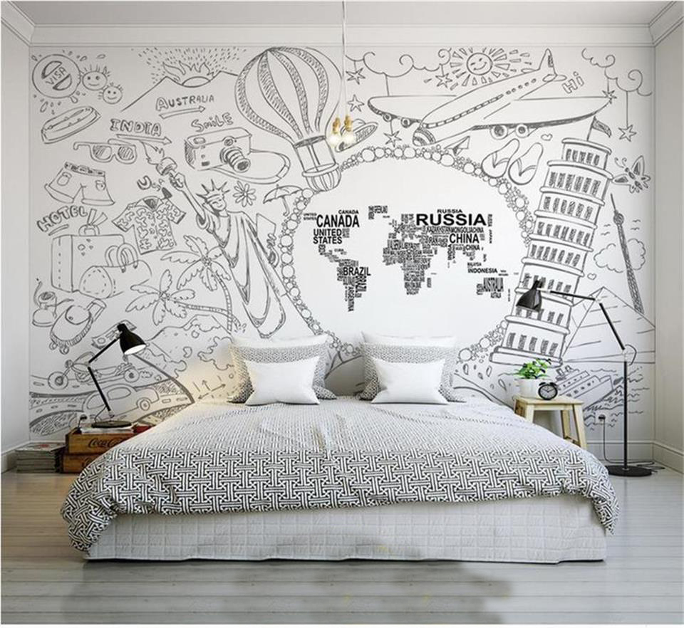 custom 3d photo wallpaper mural bedding room world attractions world map painting sofa TV background wall non-woven wall sticker 3d wallpaper for walls custom wall mural non woven wall paper modern world map living room sitting room sofa backdrop home decor