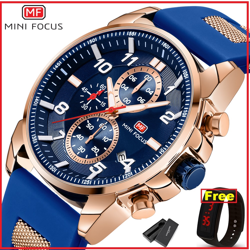 MINIFOCUS 2019 Sport Watches Men Quartz Analog Silicone