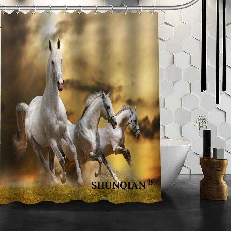 Best Nice Custom Horse Shower Curtain Bath Curtain Waterproof Fabric  Bathroom Curtain MORE SIZE A6.1 70 In Shower Curtains From Home U0026 Garden On  ...