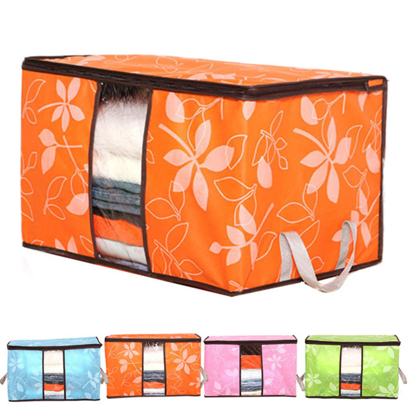 4 color Flowers Printed Non-woven Storage Boxes Organization Plus Size Finishing Storage ...