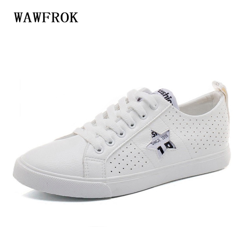 Women Casual Shoes 2018 Spring Summer Leather Shoes Woman Flats Lace-Up Fashion Lace-Up Breathable Soft Women Sneakers xiaying smile woman sneakers shoes women flats spring summer thick sole embroider rose lace up black white student women shoes