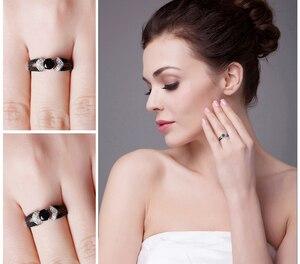 Image 4 - JewelryPalace 정품 블랙 스피넬 반지 여성을위한 925 스털링 실버 반지 약혼 반지 실버 925 보석 파인 쥬얼리