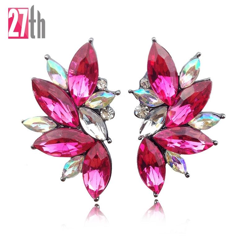 2016 Trendy Angel Wing Design Opal Stone Stud Earrings Women Elegant Crystal Earrings Christmas Gift Jewelry