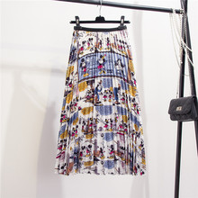 Women Skirts New-Coming Summer Cartoon Printing Mid-Calf Pleated Skirt European High Street Style Empire Autumn Clothing