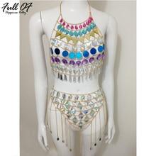 Sexy Women Metal chain sexi Gem Diamond Sequins Summer Dress 2018 Hollow 2 Two piece Exotic Nightclub Wear Party Dresses vestido цена
