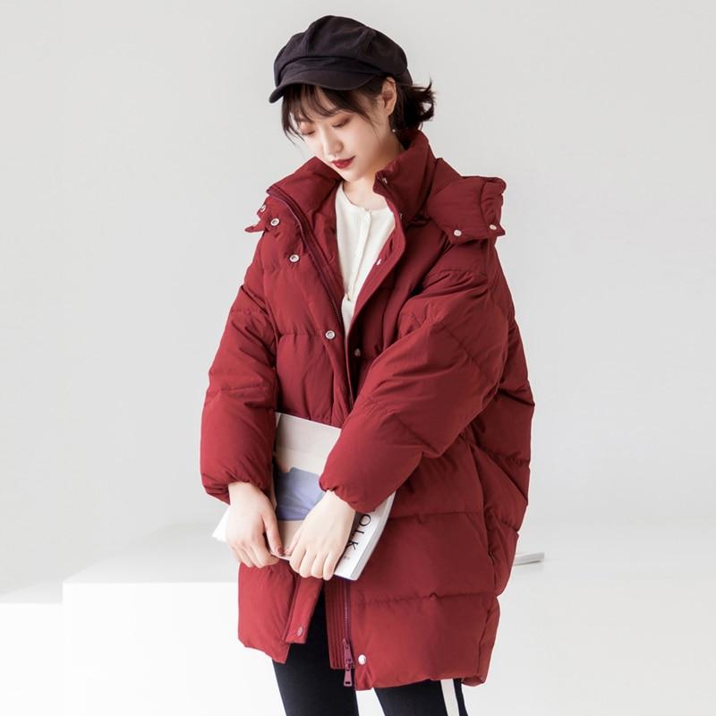 YNZZU Luxury 2018 Winter Women's   Down   Jacket Elegant Mid-Long Duck   Down     Coat   Women Thick Warm Hood Windproof Loose Outwears O710