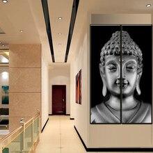 Two Piece Modern Grey Buddha Painting