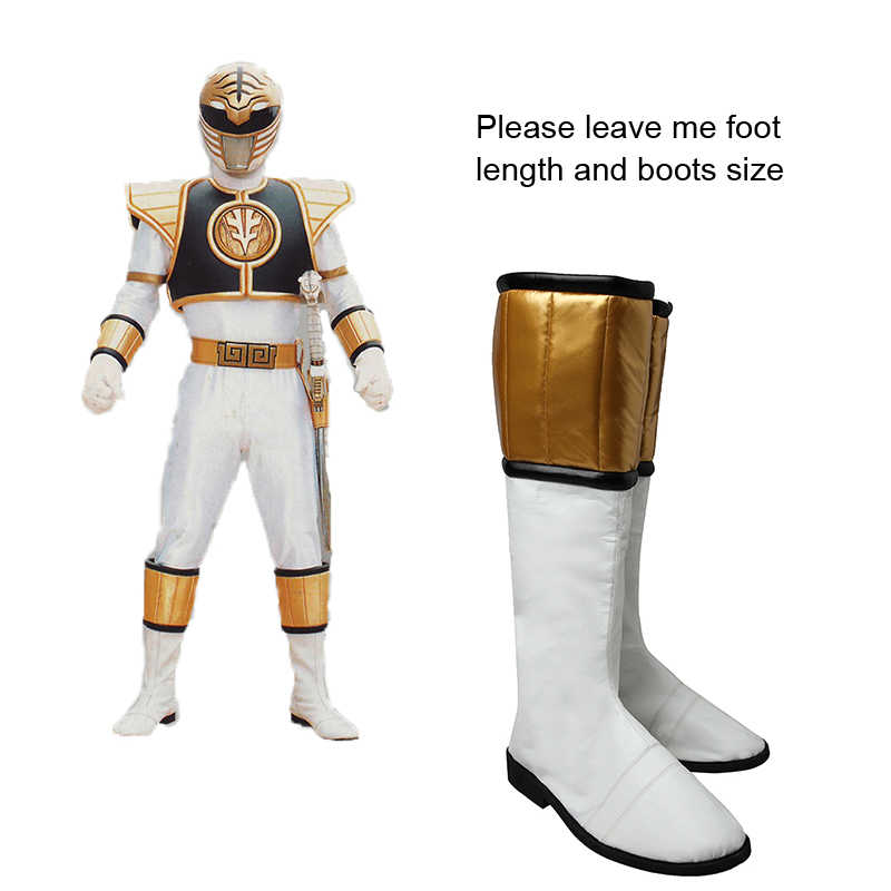 outlet online stili classici all'ingrosso White Ranger Zyuranger Cosplay Boots Tommy Shoes Costume ...
