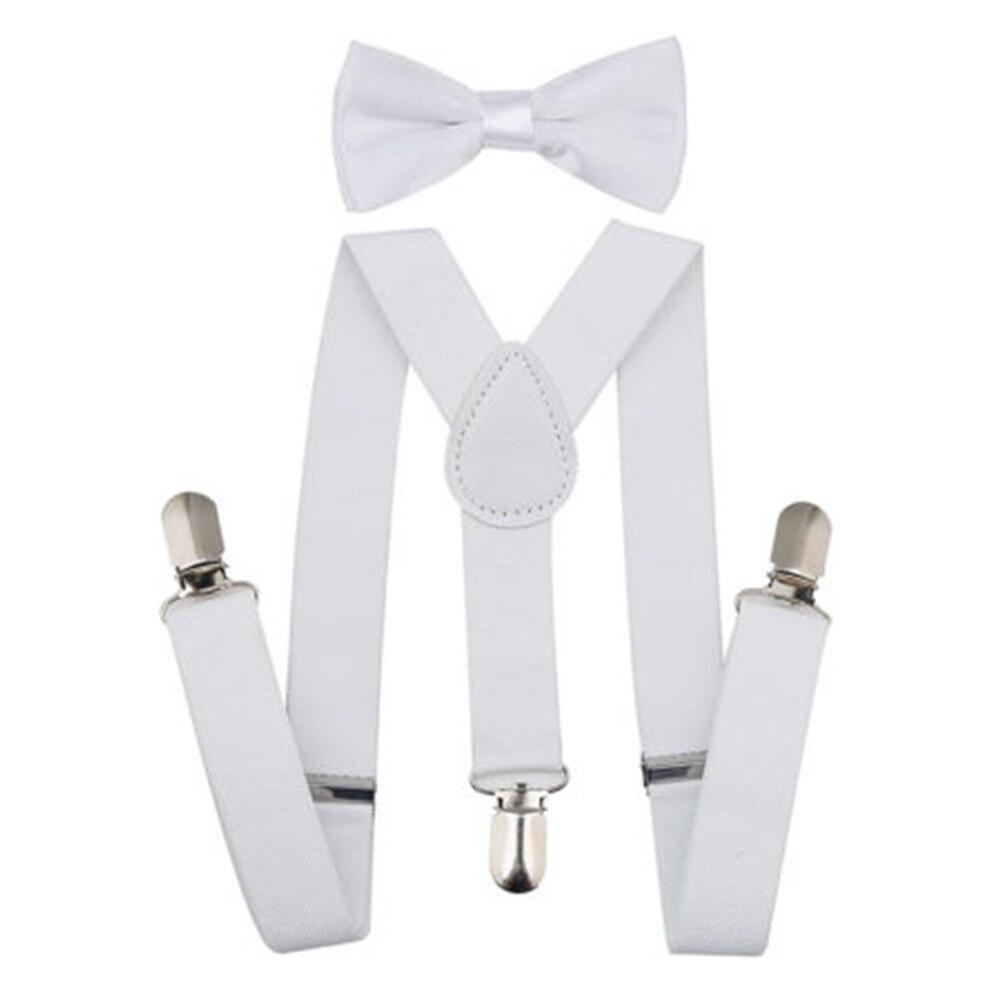 Регулируемая мода мальчиков хлопчатобумажный галстук вечерние галстуки подарок высокое качество для маленьких мальчиков малышей бабочка галстук-бабочка+ на подтяжках комплект одноцветное Цвет - Цвет: White