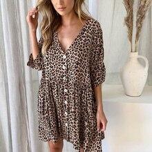 Сексуальное короткое платье с леопардовым принтом, летние женские свободные повседневные платья на пуговицах с v-образным вырезом, Сексуальные вечерние платья для пляжа