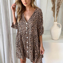Sexy Leopard Print Short Dress Summer Ladies Button V Neck Loose Casual Dresses Sexy Party Beach Dress цены
