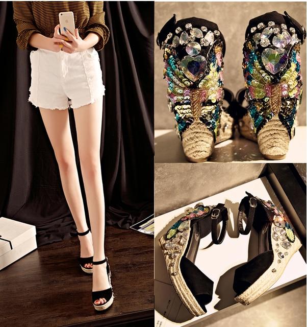 Sequins Platform Wedge Sandals Women Hand stitched Bohemian Peep Toe Summer Shoes Platform Shoes Non slip