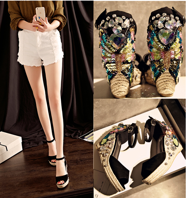 Sequins Platform Wedge Sandals Women Hand-stitched Bohemian Peep Toe Summer Shoes Platform Shoes Non-slip  High-heeled Shoes