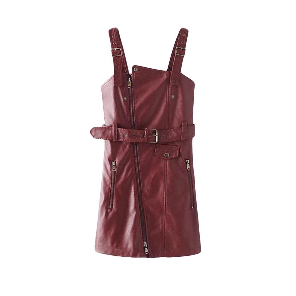 De Mode Red Globale Arrivée Robe V Couleur blanc En Dame Avec wine Noir Ceinture Mini Zipper Solide Col Faux Nouvelle rose Cuir n1ExtwA71