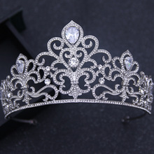 2017 New Luxurious Crystal Large Baroque Queen Tiara Crown for Women Wedding Hair Accessories Silver Color Bridal Hair Jewelry