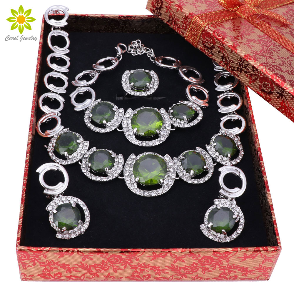 New African Jewelry Sets Silver Color Green Crystal Women Wedding Necklace Bracelet Earrings Ring Set+Gift Boxes viennois new blue crystal fashion rhinestone pendant earrings ring bracelet and long necklace sets for women jewelry sets