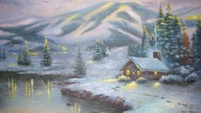 6 führte weihnachtsgeschenk Wandkunst Leinwanddruck, aquarell leuchten, dekoration bild gestreckt und gerahmte kunst arbeit