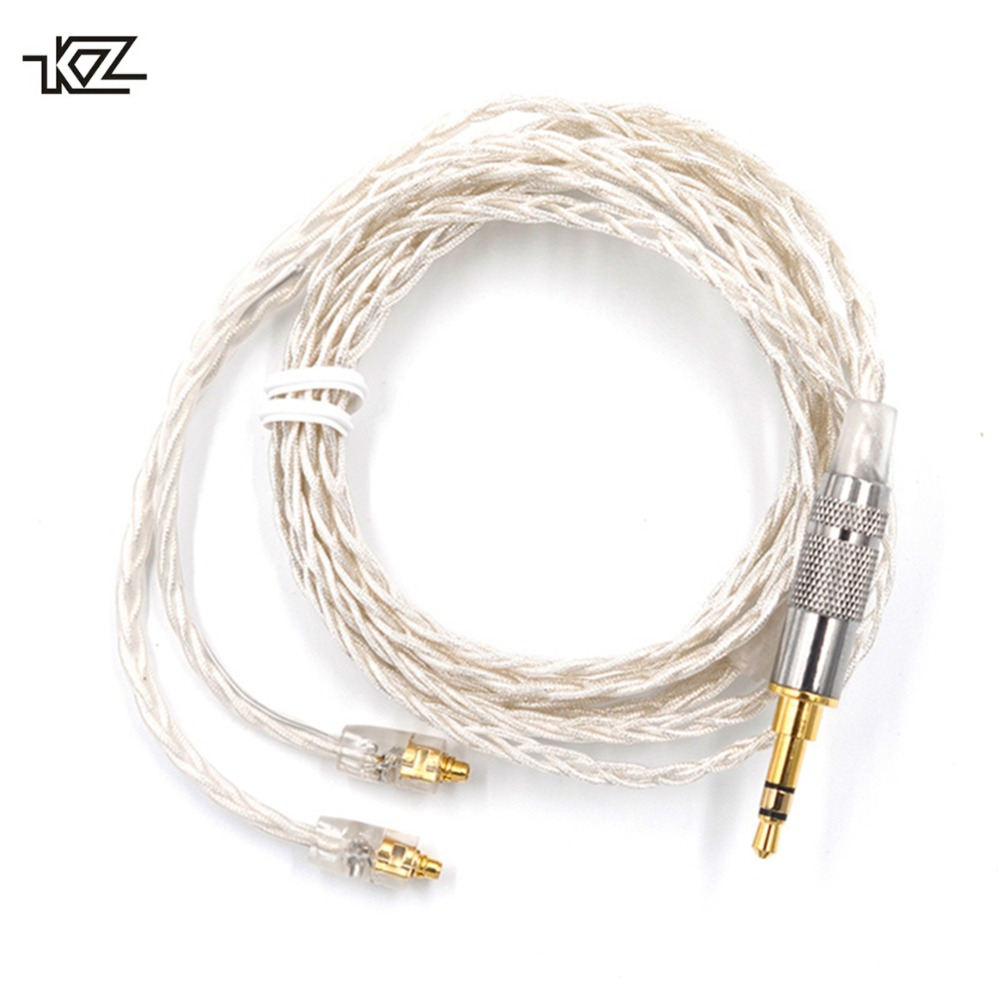KZ DIY MMCX Cable for Shure SE215 SE535 SE846 UE900 Earphone DZ7 DZ9 DZX LZ A4 Silver Plated Headphone Headset Replaceable Wire Наушники