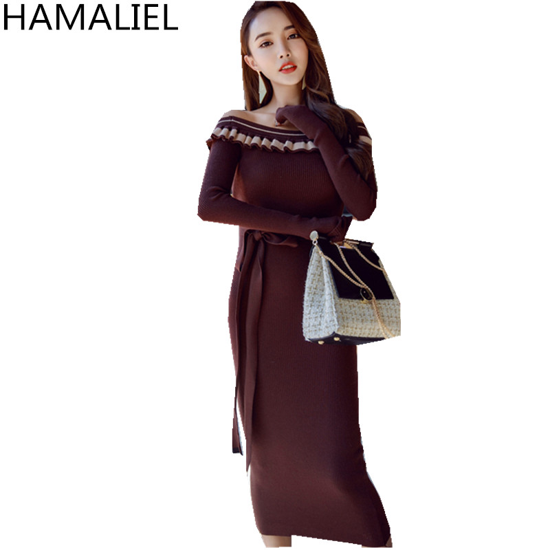 Korean Off Shoulder Women Sweater Long Dress 2018 Autumn Winter Slash Neck Ruffles Knitted Bodycon Long Sleeve Tie Bow Dresses sweet off the shoulder long sleeve bodycon sweater dress for women