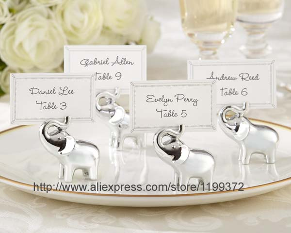 100pcs Lucky In Love Elephant Place Card Holders Photo Holder Wedding Favor Party Gift Silver Free Dhl Shipping Favors From Home Garden On