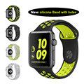 Flexível respirável sports silicone strap banda para apple watch series 2 nike 38 42mm pulseira strap para apple pulseira novo VENDA